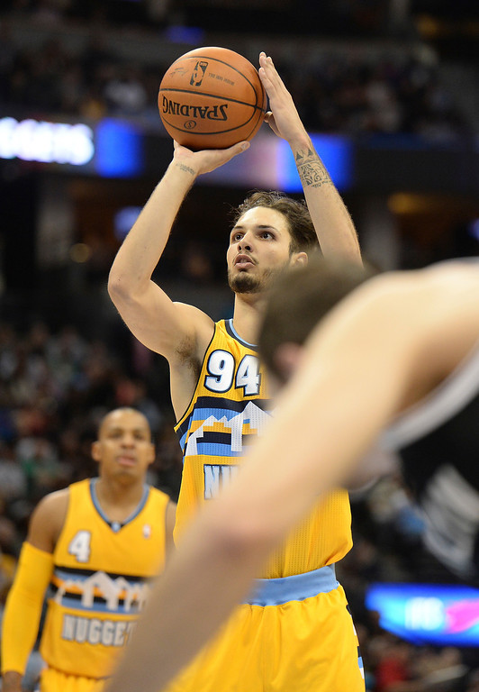 . DENVER, CO. - FEBRUARY 27, 2014: Denver guard Evan Fournier shot from the line in the first half. The Denver Nuggets hosted the Brooklyn Nets at the Pepsi Center Thursday night, February 27, 2014. Photo By Karl Gehring/The Denver Post