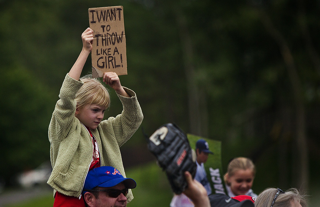 . A young fan shows her support of Philadelphia\'s Mo\'ne Davis after the team\'s 4-0 win over Nashville in a U.S. pool play baseball game at the Little League World Series, Friday, Aug. 15, 2014, in South Williamsport, Pa. (AP Photo/PennLive.com, Sean Simmers)