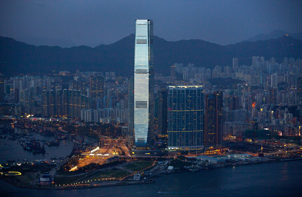 . This Sept. 19, 2013 file photo, shows the 118-story International Commerce Centre as seen from the Victoria Peak in Hong Kong.  (AP Photo/Vincent Yu, File)