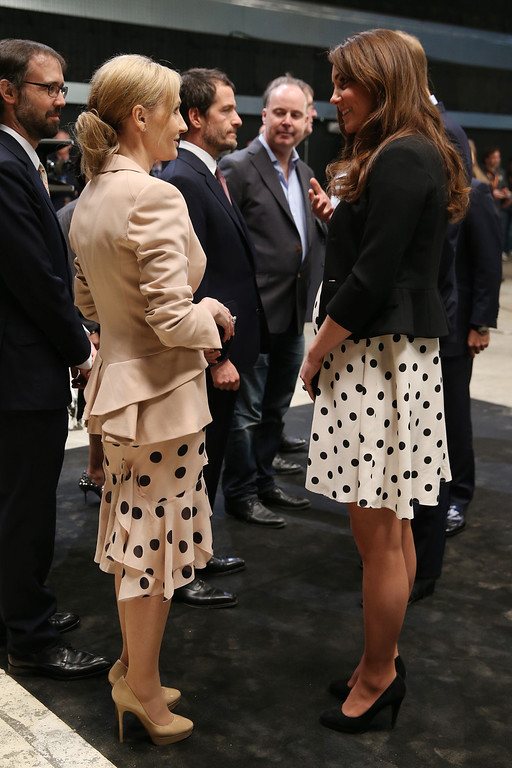""". Britain\'s Kate the Duchess of Cambridge talks to British author J. K. Rowling, left, as she and her husband Prince William and his brother Prince Harry, not pictured, attend the inauguration of \""""Warner Bros. Studios Leavesden\"""" near Watford, approximately 18 miles north west of central London, Friday, April 26, 2013. (AP Photo/Chris Jackson, Pool)"""