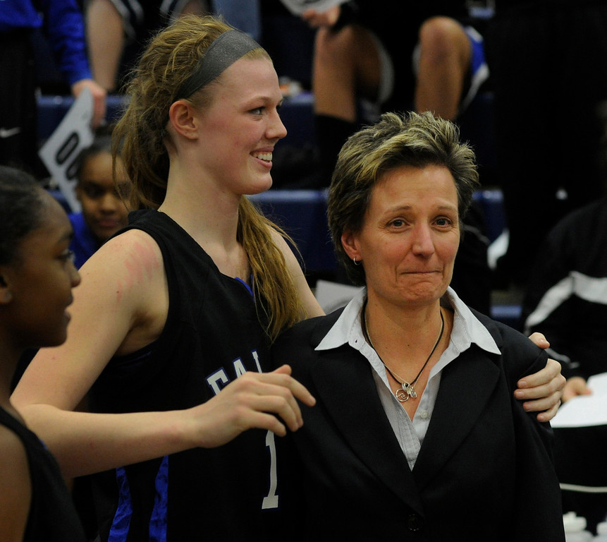 . PARKER, CO. - FEBRUARY 15: The Highlands Ranch High School girls\'s basketball team defeated Legend 76-31 Friday night, February 15, 2013. Falcon\'s coach Caryn Jarocki fought back tears as her earned her 500th career win. (Photo By Karl Gehring/The Denver Post)
