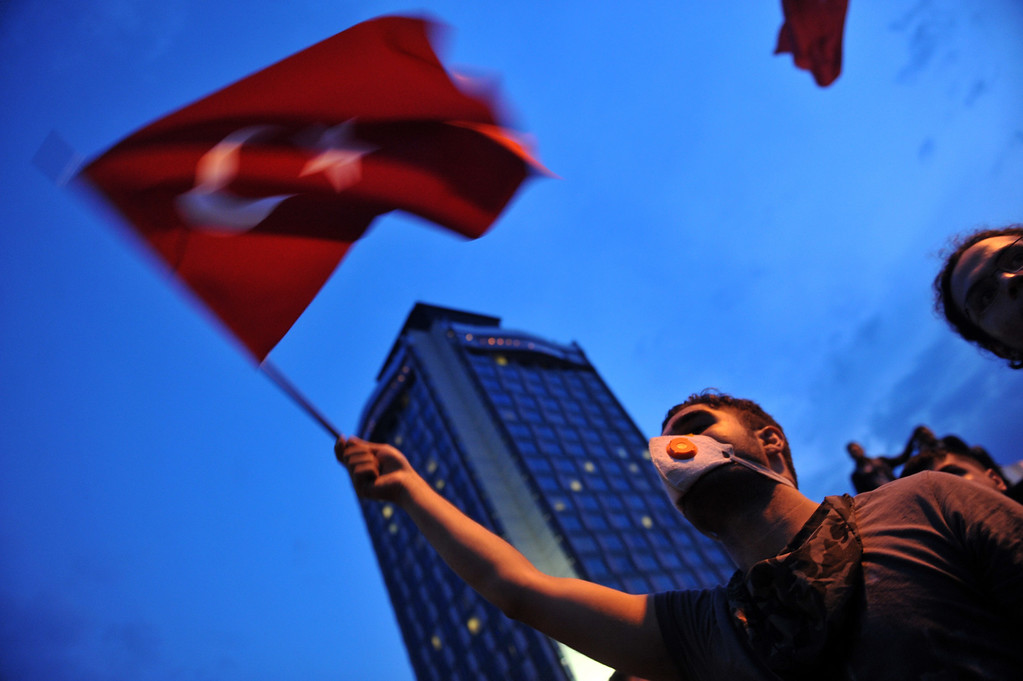 . Protesters demonstrate in Istanbul on June 4, 2013, as part of ongoing protests against the ruling party, police brutality, and the destruction of Taksim park for the sake of a development project. AFP PHOTO / OZAN KOSE/AFP/Getty Images