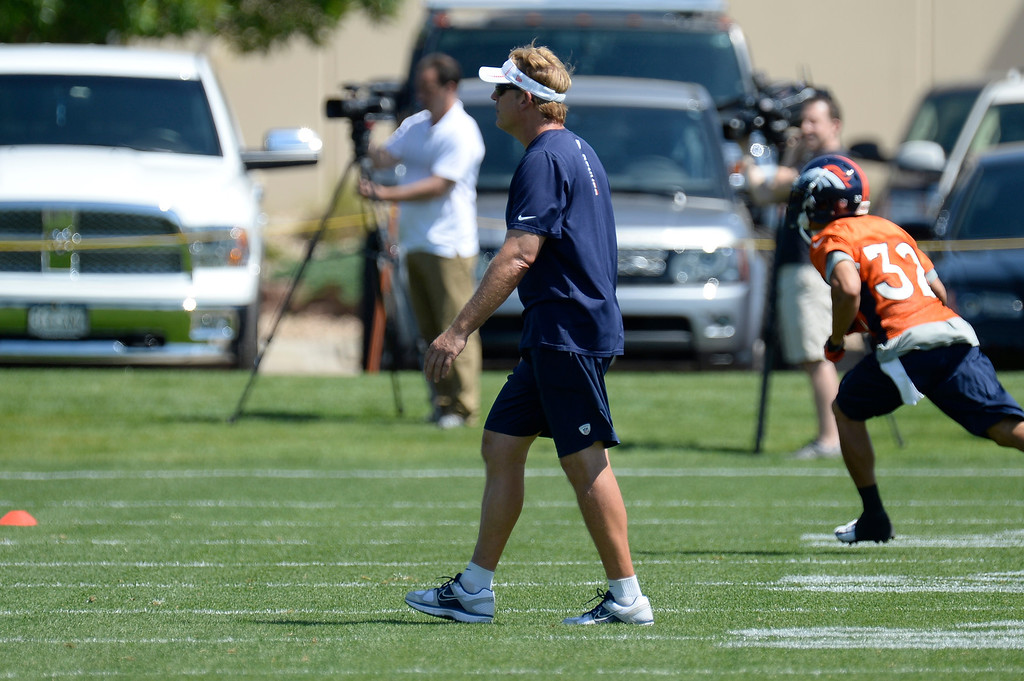 . Jack Del Rio defensive coordinator of the Denver Broncos looks on during mini camp June 11, 2013 at Dove Valley. (Photo By John Leyba/The Denver Post)