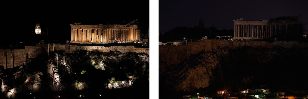 . This combo image shows the Parthenon temple standing atop the Acropolis hill before and after turning off lights, to mark the annual Earth Hour in Athens, on Saturday March 23, 2013. In Greece, floodlights in several monuments and public buildings were switched off for one hour at 8:30 p.m. local time. Thousands of businesses and municipalities also dimmed their lights. (AP Photo/Kostas Tsironis)