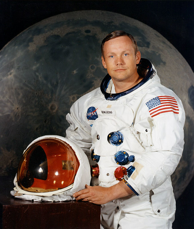 . Handout portrait taken in July 1969 shows US astronaut Neil Armstrong, commander of the Apollo 11 moon landing mission. With one small step off a ladder, Neil Armstrong became the first human to set foot on the moon on July 20, 1969, before the eyes of hundreds of millions of awed television viewers worldwide. With that step, he placed mankind\'s first footprint on an extraterrestrial world and gained instant hero status. Joined by fellow astronaut Buzz Aldrin, Armstrong spent about two and a half hours exploring the landscape around the landing site.  Handout/AFP/Getty Images