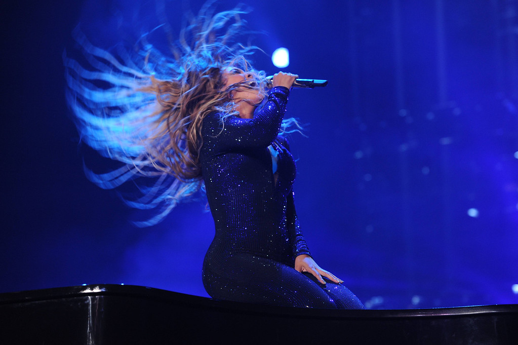 """. On Monday July 8, 2013, Singer Beyonce performs on her \""""Mrs. Carter Show World Tour 2013\"""" during the Essence Festival at the Superdome in New Orleans.  (Photo by Frank Micelotta/Invision for Parkwood Entertainment/AP Images)"""