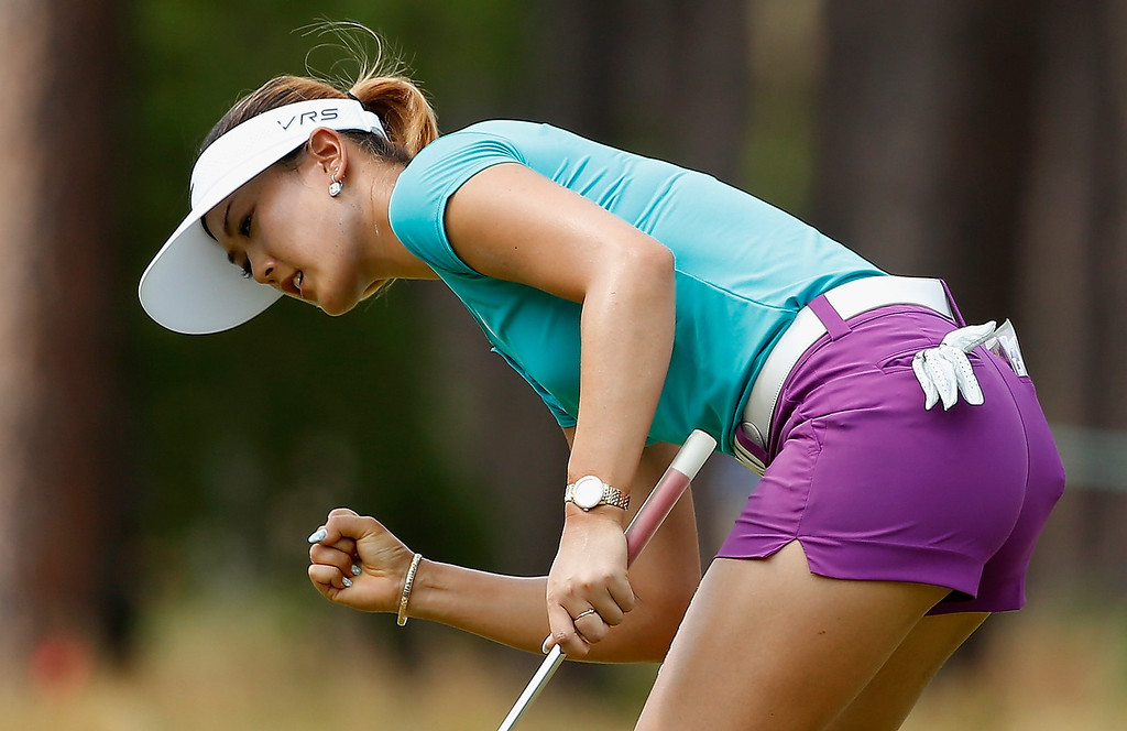 . Michelle Wie of the United States celebrates an eagle putt on the tenth green during the final round of the 69th U.S. Women\'s Open at Pinehurst Resort & Country Club, Course No. 2 on June 22, 2014 in Pinehurst, North Carolina.  (Photo by Scott Halleran/Getty Images)