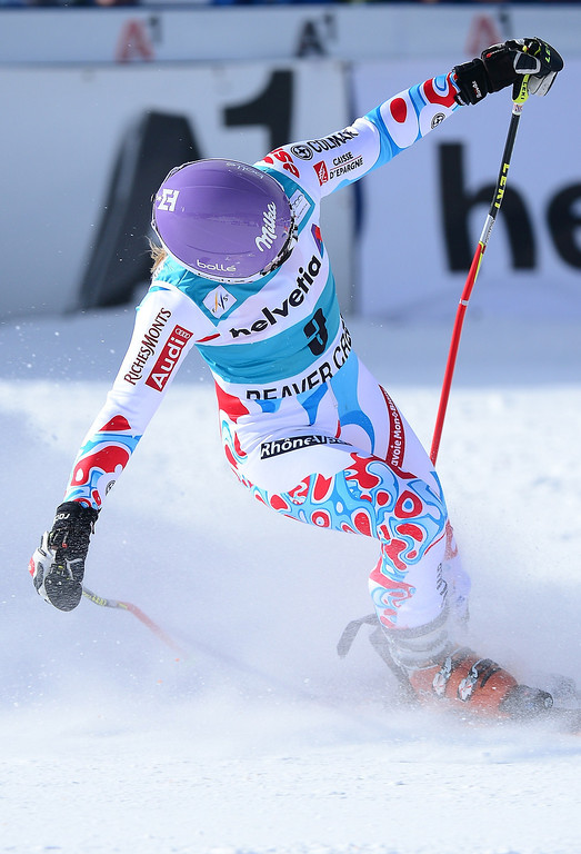 . France\'s Tessa Worley  reacts crossing the finish line to place ninth-tie in the women\'s giant slalom at the FIS Ski World Cup in Beaver Creek, Colorado, on December 1, 2013.   MMANUEL DUNAND/AFP/Getty Images