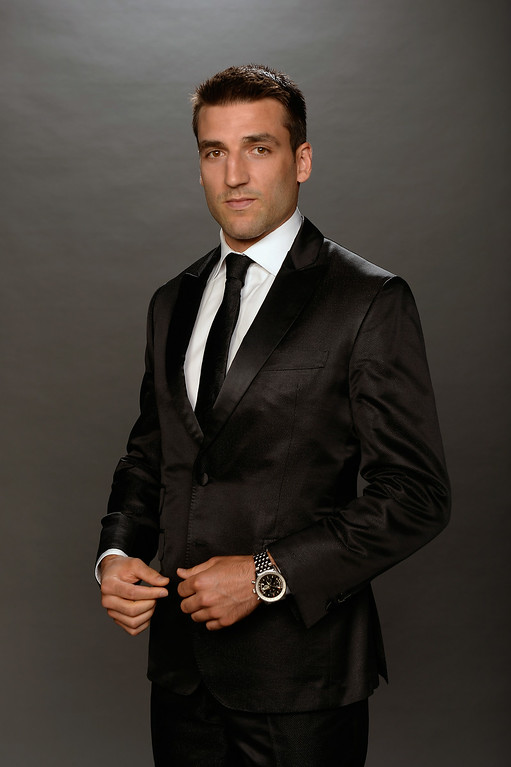 . LAS VEGAS, NV - JUNE 24: Patrice Bergeron of the Boston Bruins poses for a portrait during the 2014 NHL Awards at Encore Las Vegas on June 24, 2014 in Las Vegas, Nevada.  (Photo by Harry How/Getty Images)