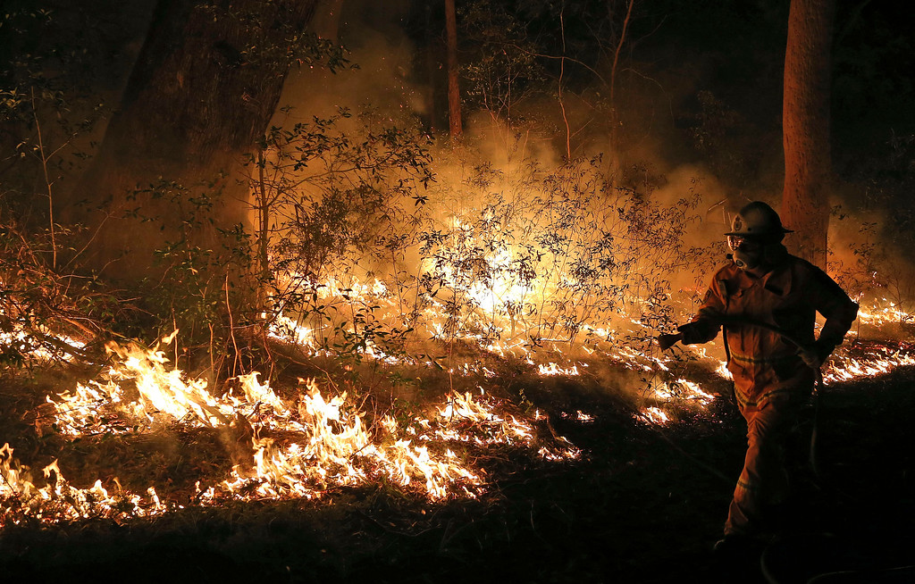 . Firefighters control flames during hazard reduction in Bilpin 75 kilometers (46 miles) from Sydney in  Australia,  Wednesday, Oct. 23, 2013. Scores of Australians evacuated their homes in mountains west of Sydney on Wednesday as intensifying winds fanned wildfires and grounded the helicopters that were fighting them.  (AP Photo/Rob Griffith)