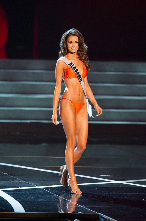 . In this photo provided by the Miss Universe Organization,  Miss Alabama USA 2013, Mary Margaret McCord,  competes in her swimsuit during the  2013 Miss USA Competition Preliminary Show in Las Vegas on Wednesday June 12, 2013.   She will compete for the title of Miss USA 2013 and the coveted Miss USA Diamond Nexus Crown on June 16, 2013.  (AP Photo/Miss Universe Organization, Darren Decker)
