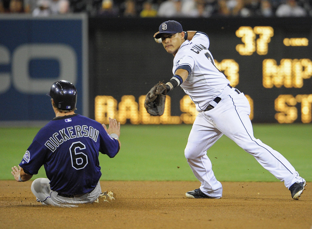 . Everth Cabrera #2 of the San Diego Padres throws over Corey Dickerson #6 of the Colorado Rockies as he turns a double play during the fifth inning of a baseball game at Petco Park on July 8, 2013 in San Diego, California.  (Photo by Denis Poroy/Getty Images)