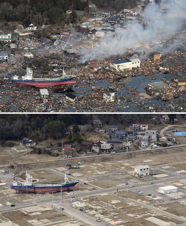 . This combination photo shows an aerial view of Kesennuma, Miyagi prefecture on March 12, 2011, top, and Monday, March 4, 2013. Seen at left is the No. 18 Kyotokumaru fishing vessel that was swept away from a port by the March 11, 2011 tsunami. Japan\'s progress in rebuilding from the mountain of water that thundered over coastal sea walls, sweeping entire communities away and killing nearly 19,000 people, is mainly measured in barren foundations and empty spaces. Clearing of forests on higher ground to make space for relocation of survivors has barely begun. Japan observes two years from the disasters which devastated the northeastern Pacific coast of the country on Monday, March 11, 2013. (AP Photo/Kyodo News)