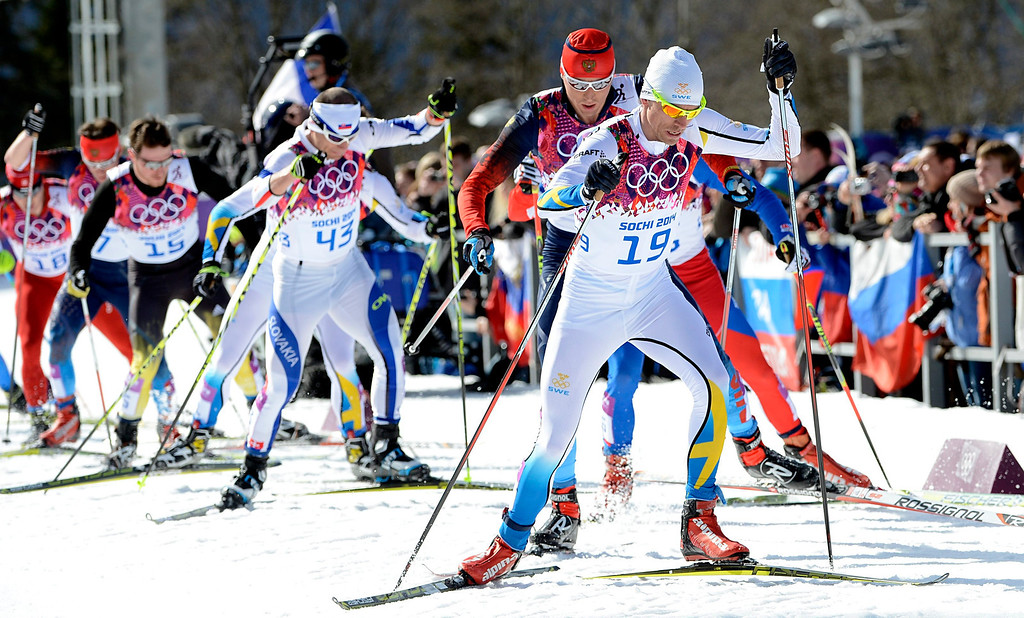 . Johan Olsson of Sweden in action during the Men\'s 50km Mass Start Free Cross Country Skiing event in the Laura Cross-Country Ski & Biathlon Center during the Sochi 2014 Olympic Games, Krasnaya Polyana, Russia, 23 February 2014.  EPA/FILIP SINGER