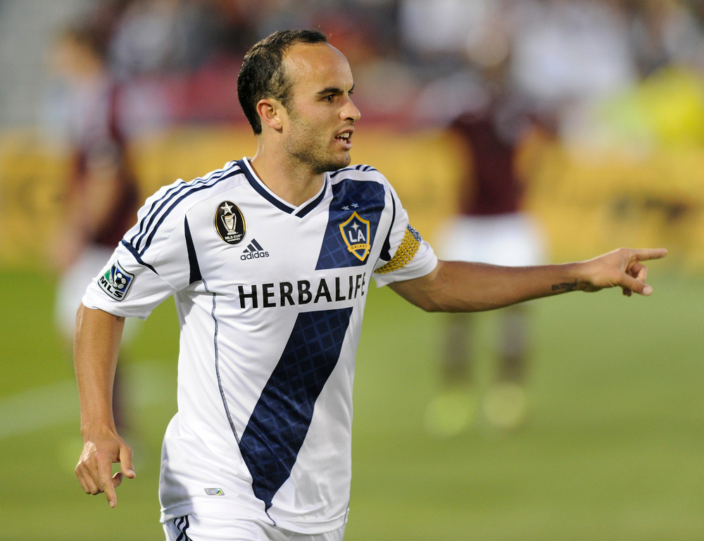 . Galaxy star Landon Donovan celebrated his first half goal Saturday night. The Colorado Rapids hosted the Los Angeles Galaxy Saturday night, April 21, 2012. Karl Gehring/The Denver Post