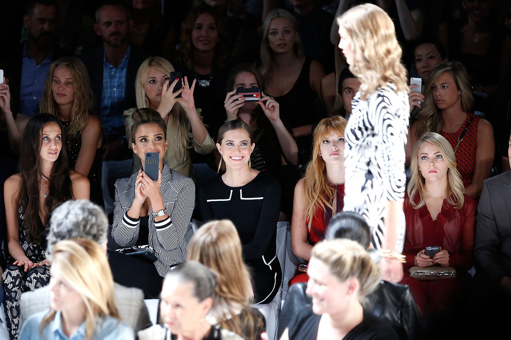 . (L-R) Ali Kay, Jessica Alba, Allison Williams, Holland Roden and AnnaSophia Robb attend the Diane Von Furstenberg fashion show during Mercedes-Benz Fashion Week Spring 2014 at The Theatre at Lincoln Center on September 8, 2013 in New York City.  (Photo by Cindy Ord/Getty Images for Mercedes-Benz Fashion Week Spring 2014)