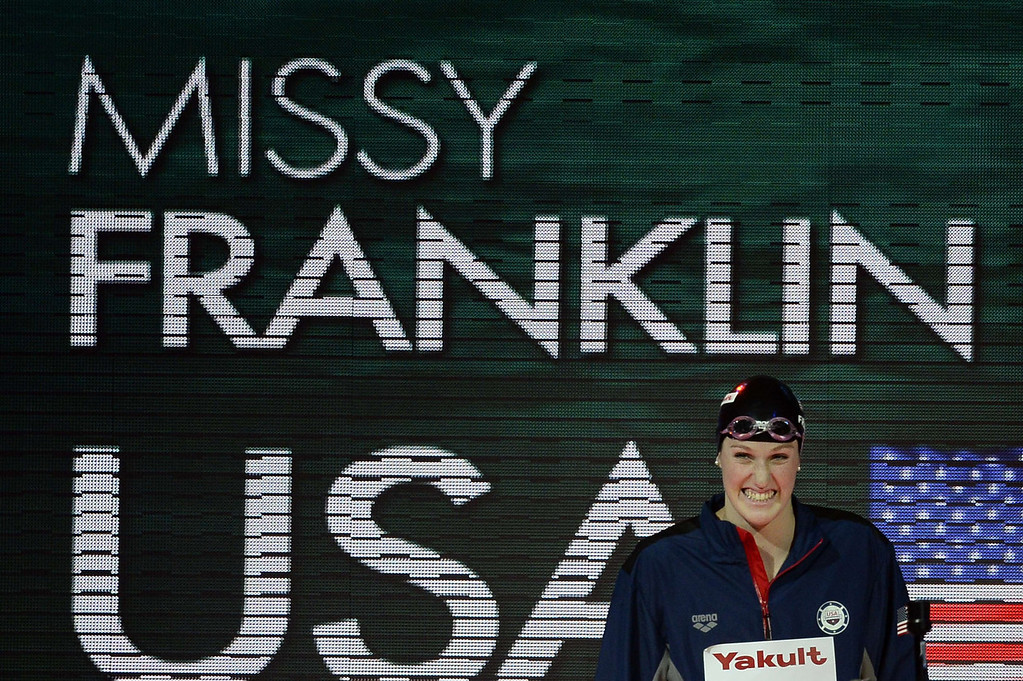 . US swimmer Missy Franklin prepares to compete in the final of the women\'s 100-metre backstroke swimming event in the FINA World Championships at Palau Sant Jordi in Barcelona on July 30, 2013.  PIERRE-PHILIPPE MARCOU/AFP/Getty Images