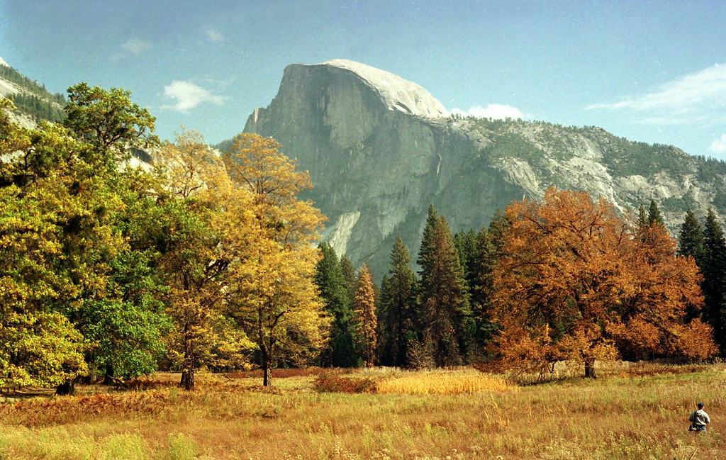 . A view of Half Dome from the valley floor of Yosemite National Park is shown on Oct. 20, 1997, in Yosemite, Calif.    (AP Photo/Ben Margot)