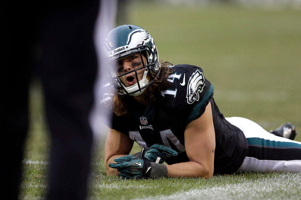 . Philadelphia Eagles\' Riley Cooper reacts to an official after an incomplete pass during the second half of an NFL football game against the Arizona Cardinals, Sunday, Dec. 1, 2013, in Philadelphia. (AP Photo/Matt Rourke)