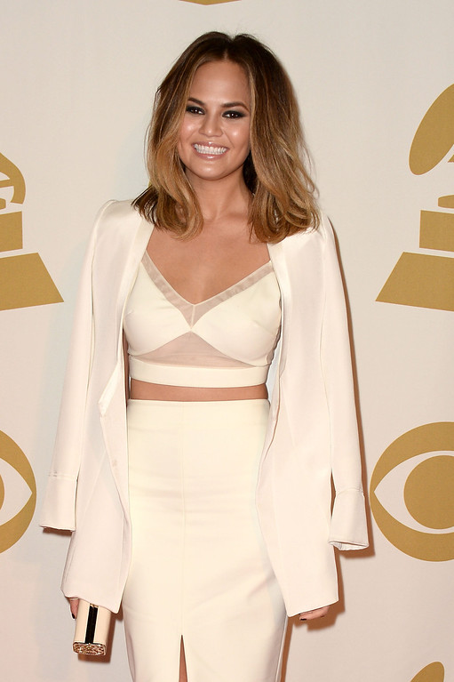 """. Model Chrissy Teigen attends \""""The Night That Changed America: A GRAMMY Salute To The Beatles\"""" at the Los Angeles Convention Center on January 27, 2014 in Los Angeles, California.  (Photo by Frazer Harrison/Getty Images)"""