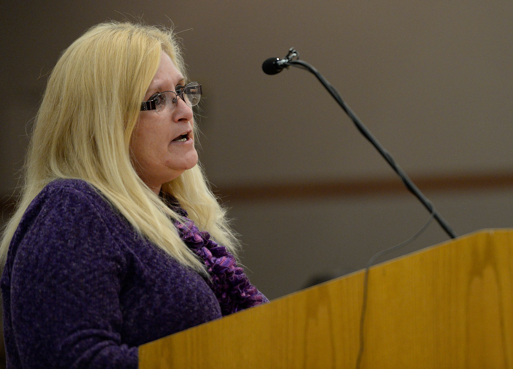 . Angie Moss, Grandmother of Jessica Ridgeway, addresses the court during Austin Sigg\'s sentencing hearing in a Jefferson County Court, in Golden, November 18, 2013. Sigg, who pleaded guilty to the kidnapping and murder of 10-year-old Jessica Ridgeway, was in Courtroom 1-A with Chief Judge Stephen M. Munsinger presiding over the hearing. (Photo by RJ Sangosti/The Denver Post)