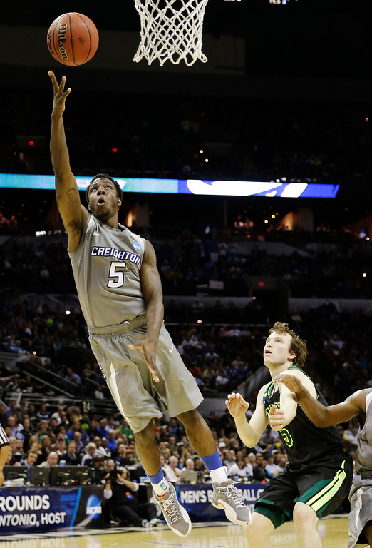 . Creighton guard Devin Brooks shoots against Baylor during the first half of a third-round game in the NCAA college basketball tournament Sunday, March 23, 2014, in San Antonio. (AP Photo/David J. Phillip)