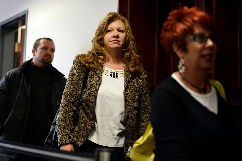 . CENTENNIAL, CO. - APRIL 10: Heidi Soudani, mother of shooting victim Farrah Soudani, (center) leaving a hearing for Fox News reporter Jana Winter for protecting her sources in a story connected to mass murderer James Holmes at the Arapahoe County Justice Center April 10, 2013 Centennial, Colorado. (Photo By Joe Amon/The Denver Post)
