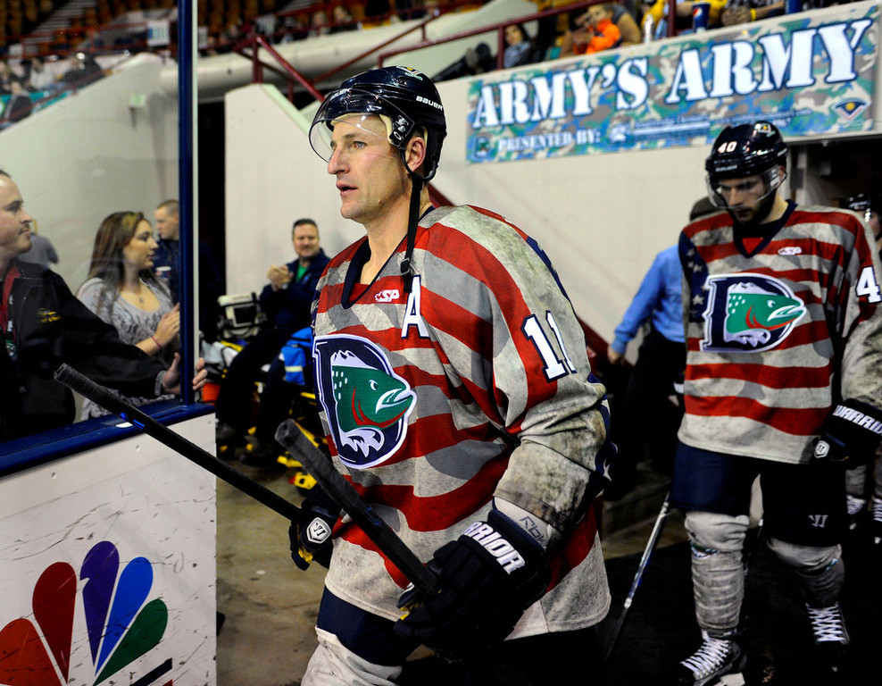 . Cutthroats\' 39-year-old forward Brad Smyth is now playing for former teammate and current coach Derek Armstrong. Smyth has played for an incredible 21 different pro hockey teams in his career. The Allen Americans defeated the Denver Cutthroats 2-1 Friday night at the Denver Coliseum. Smyth had the team\'s only goal in the loss. Karl Gehring/The Denver Post
