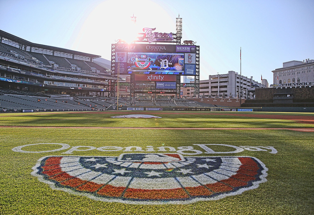 . A detailed view of Comerica Park on Opening Day prior to the start of the game between the Kansas City Royals and the Detroit Tigers on March 31, 2014 in Detroit, Michigan.  (Photo by Leon Halip/Getty Images)