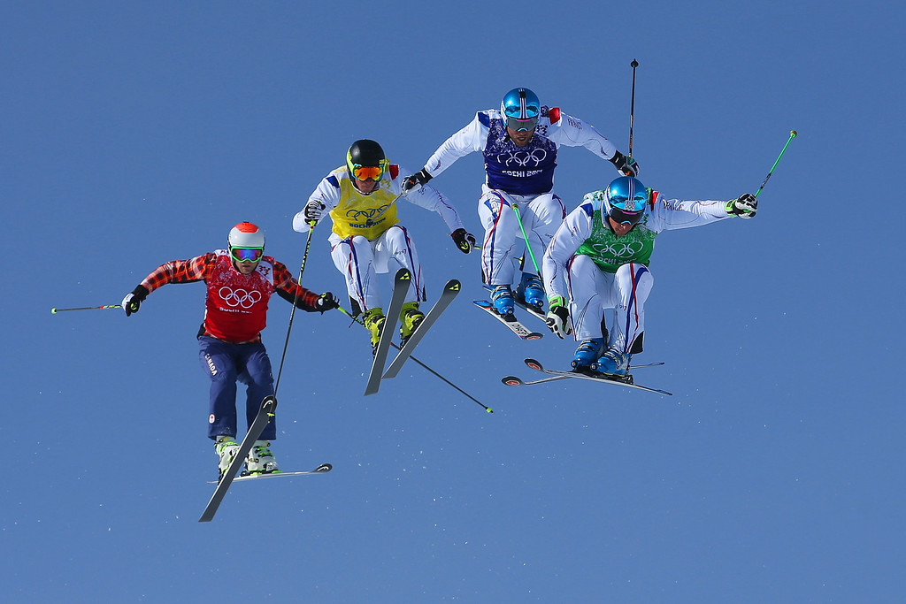 . (R-L) JF Chapuis, Arnaud Bovolenta, Jonathan Midol of France and Brady Leman of Canada make a jump in the final during the Mens Ski Cross Freestyle Skiing at Rosa Khutor Extreme Park on February 20, 2014 in Sochi, Russia.  (Photo by Julian Finney/Getty Images)