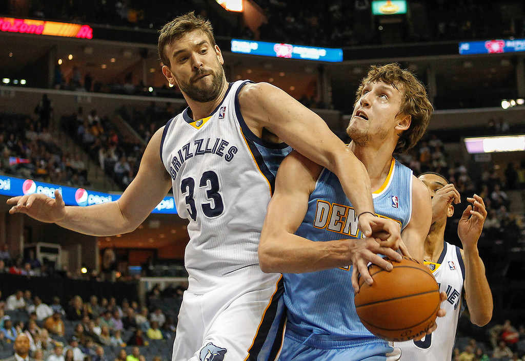 . Memphis Grizzlies center Marc Gasol (33), of Spain, blocks a shot by Denver Nuggets forward Jan Vesely, of the Czech Republic, in the first half of an NBA basketball game Friday, April 4, 2014, in Memphis, Tenn. (AP Photo/Lance Murphey)