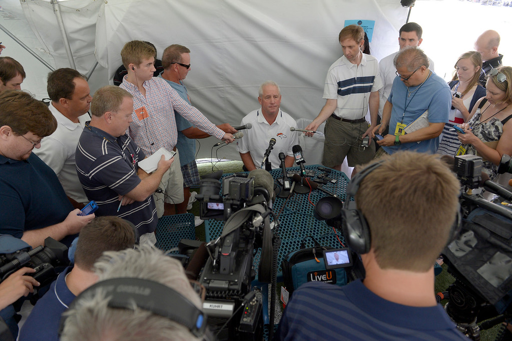 . Denver Broncos head coach John Fox meets with the media as the team reports to camp JuLY 24, 2013 at Dove Valley. (Photo By John Leyba/The Denver Post)