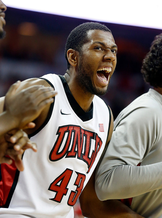 . UNLV\'s Mike Moser reacts to a shot in the final moments of the second half of an NCAA college basketball game against Colorado State on Wednesday, Feb. 20, 2013, in Las Vegas. UNLV defeated Colorado State 61-59. (AP Photo/Isaac Brekken)
