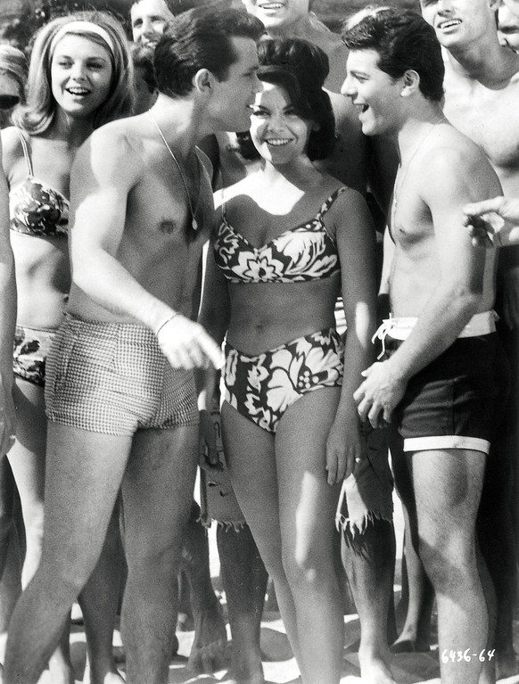 ". Walt Disney wouldn\'t allow Annette Funicello to wear a bikini until the last installment of the ""Bikini Beach\"" movies, according to Kelly Killoren Bensimon\'s \""The Bikini Book,\"" published by Assouline. She mostly wore two-piece bathing suits that covered her navel. (AP Photo/Walt Disney/Assouline)"
