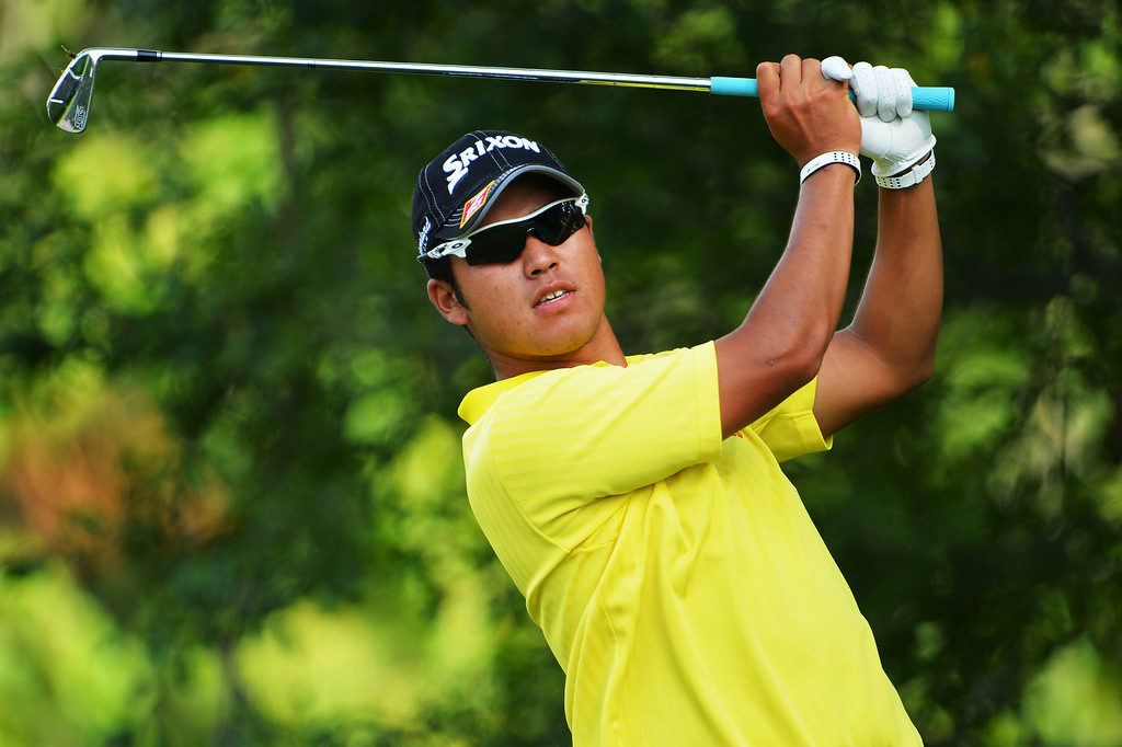 . ROCHESTER, NY - AUGUST 09:  Hideki Matsuyama of Japan watches his tee shot on the 15th hole during the second round of the 95th PGA Championship on August 9, 2013 in Rochester, New York.  (Photo by Stuart Franklin/Getty Images)