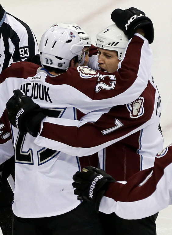 . Colorado Avalanche\'s John Mitchell,right, is congratulated by teammates after his goal off Minnesota Wild goale Niklas Backstrom of Finland in the first period of an NHL hockey game Saturday, Jan. 19, 2013 in St. Paul, Minn. (AP Photo/Jim Mone)
