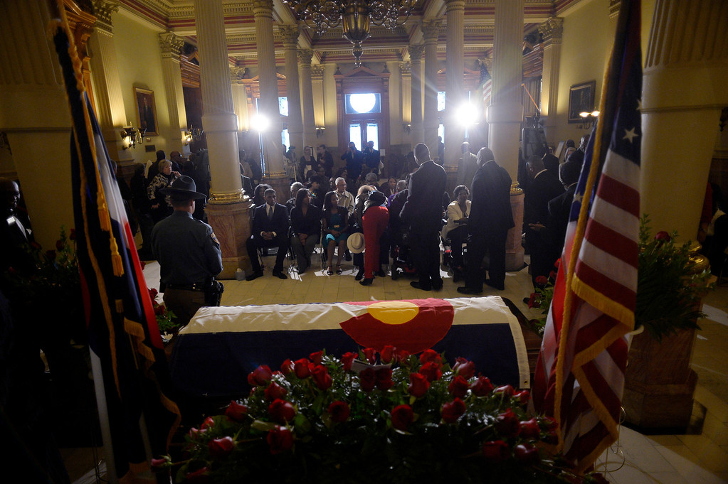 . The public was invited to to pay their respects to former Lt. Gov. Joe Rogers during a service at the state Capitol in Denver, CO October 15, 2013. The Republican served as Gov. Bill Owens\' first lieutenant governor. He was 49. (Photo By Craig F. Walker / The Denver Post)