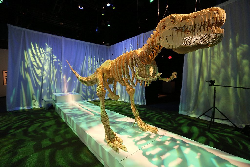 . A 20-foot T-Rex dinosaur skeleton, a Nathan Sawaya sculpture, is displayed in the \'Art of the Brick\' show at Discovery Times Square on June 18, 2013 in New York City.  Sawaya created the pieces entirely with LEGO toy bricks and the exhibition features over 100 works of art created from millions of the toy bricks.  (Photo by Mario Tama/Getty Images)