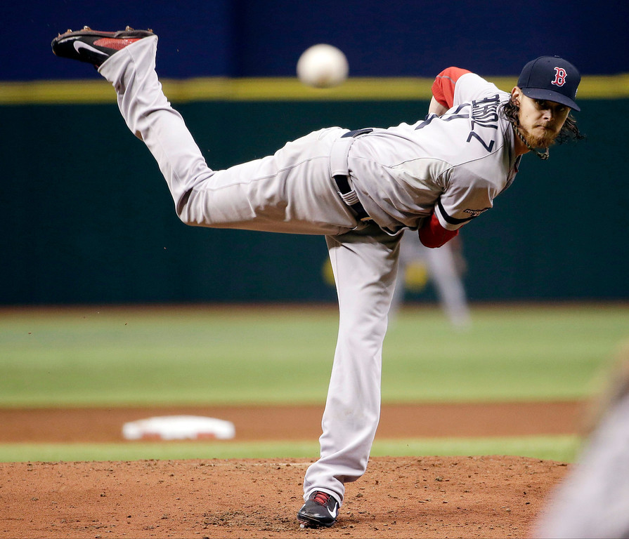 . Boston Red Sox starting pitcher Clay Buchholz watches his pitch in the first inning in Game 3 of an American League baseball division series against the Tampa Bay Rays, Monday, Oct. 7, 2013, in St. Petersburg, Fla. (AP Photo/Chris O\'Meara)