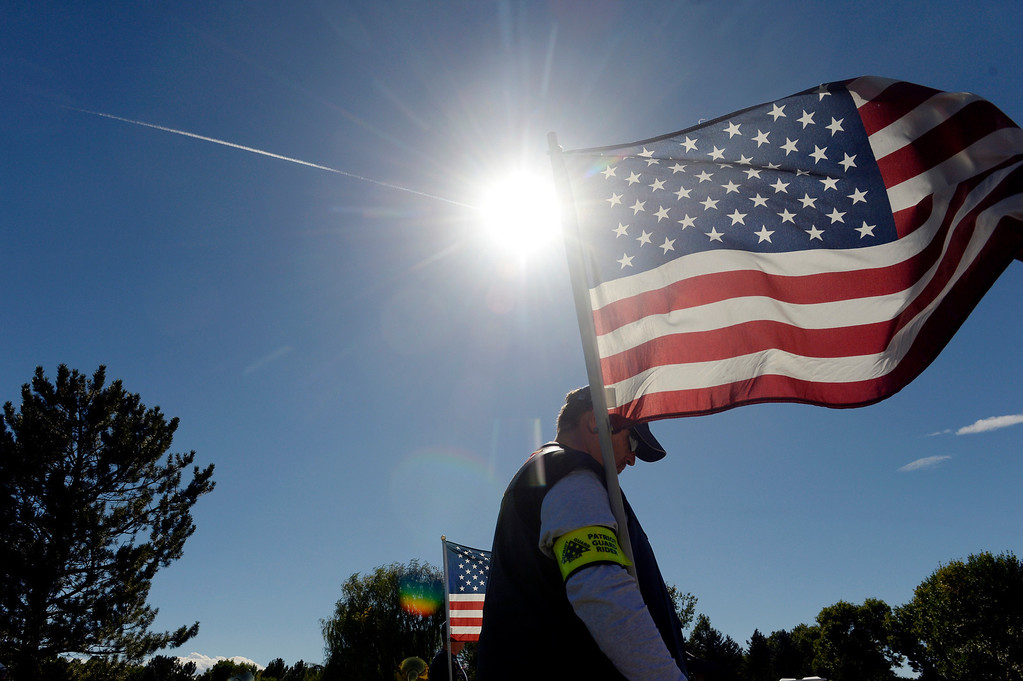 . DENVER, CO. - OCTOBER 02:Members of the Patriot Guard Riders attended the burial ceremony for Colorado National Guard Special Forces Soldier Liam Nevins  at Fort Logan National Cemetery in Denver,CO October 02, 2013. (Photo By Craig F. Walker / The Denver Post)
