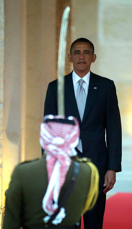 . President Barack Obama participates in an arrival ceremony at Jordan King Abdullah II\'s  residence in Amman, Jordan Friday, March 22, 2013. (AP Photo/Pablo Martinez Monsivais)