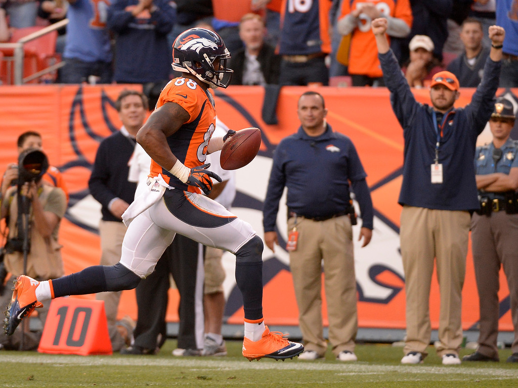 . Denver Broncos wide receiver Demaryius Thomas (88) runs it in for a touchdown in the fourth quarter against the Redskins.   (Photo by John Leyba/The Denver Post)