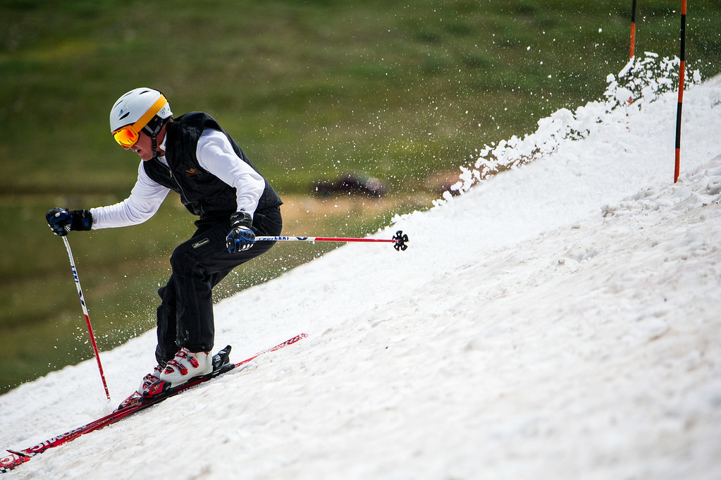 . Brad Pech of Denver competes in the 49th running of the Epworth Cup, an unofficial ski race atop Corona Pass on Sunday, July 13, 2014 in Winter Park, CO.  The summer ski race, which was originally founded in 1966 is a memorial to a Winter Park patroller that died on Mt. Epworth.  (Photo by Kent Nishimura/The Denver Post)