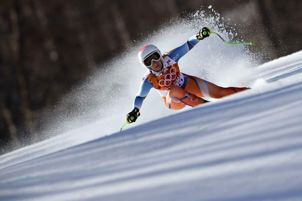 . Norway\'s Lotte Smiseth Sejersted skis during the Women\'s Alpine Skiing Downhill at the Rosa Khutor Alpine Center during the Sochi Winter Olympics on February 12, 2014. AFP PHOTO / OLIVIER  MORIN/AFP/Getty Images