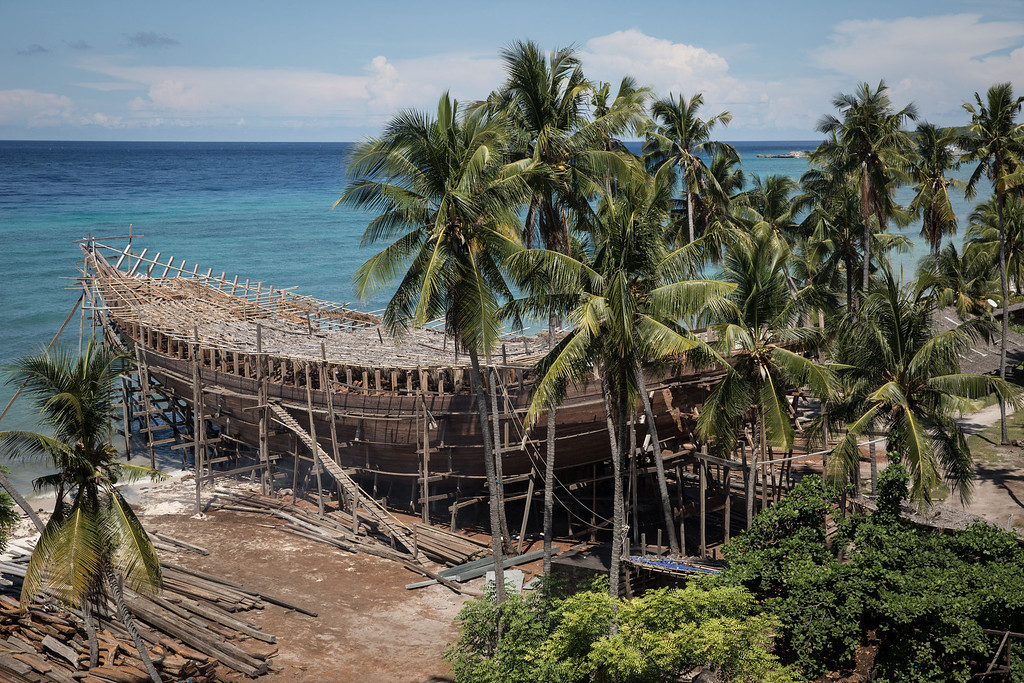 . An unfinished phinisi schooner is seen at Tanjung Bira Beach on May 2, 2014 in Bulukumba, South Sulawesi, Indonesia.  (Photo by Agung Parameswara/Getty Images)