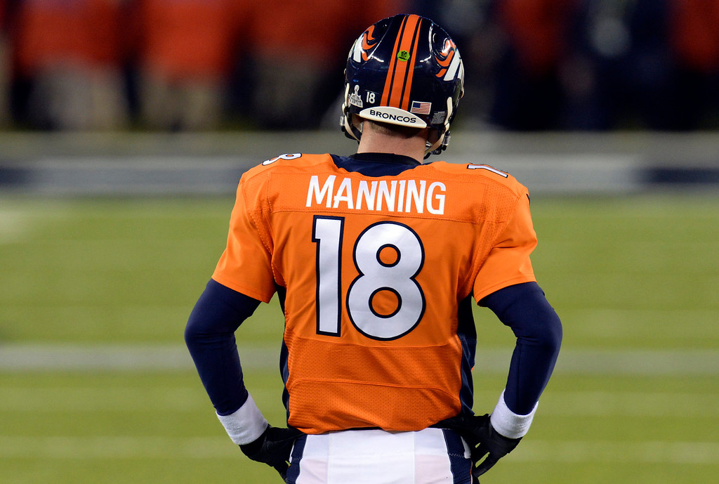 . Denver Broncos quarterback Peyton Manning (18) on the field during the fourth quarter.  The Denver Broncos vs the Seattle Seahawks in Super Bowl XLVIII at MetLife Stadium in East Rutherford, New Jersey Sunday, February 2, 2014. (Photo by Hyoung Chang//The Denver Post)