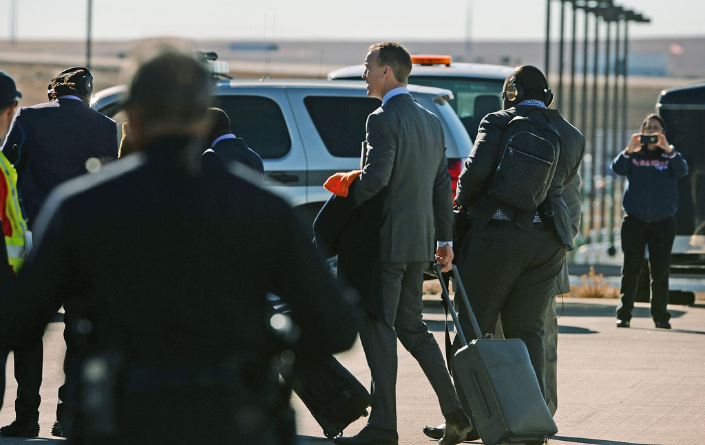 . Denver Broncos quarterback Peyton Manning and other members of the team board a United charter plane to head to New Jersey for the Super Bowl from Denver International Airport in Denver, Co on January 26, 2014.  (Photo By Helen H. Richardson/ The Denver Post)