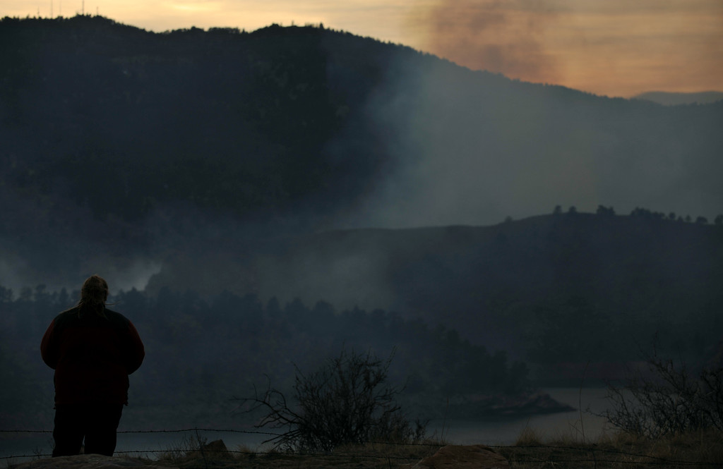 . FORT COLLINS, CO. - MARCH 15: A wildfire burning in and near Lory State Park northwest of Fort Collins has grown to about 700 acres, pushed by erratic winds, record temperatures and low humidity. Fort Collins, Colorado. March 15, 2013. (Photo By Hyoung Chang/The Denver Post)