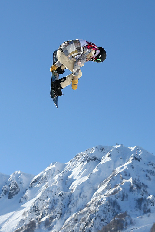 . Shaun White of the United States trains during Snowboard Slopestyle practice at the Extreme Park at Rosa Khutor Mountain ahead of the Sochi 2014 Winter Olympics on February 4, 2014 in Sochi, Russia  (Photo by Cameron Spencer/Getty Images)