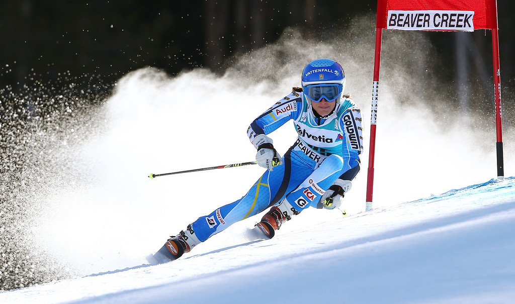 . Sweden\'s Maria Pietilae-Holmner makes a turn during the first run of the women\'s World Cup giant slalom skiing event, in Beaver Creek, Colo., Sunday, Dec. 1, 2013. (AP Photo/Alessandro Trovati)